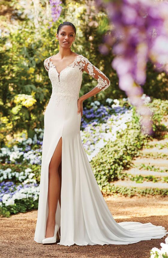 robe de mariée droite à manches longues en